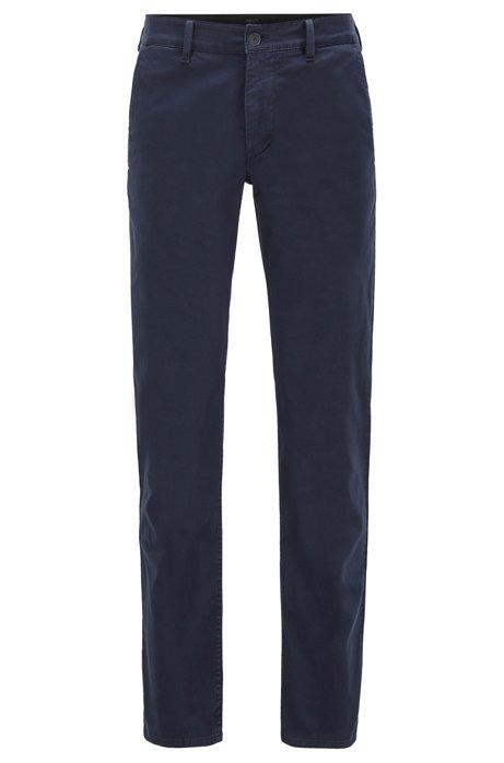 Chinos slim fit en satén de algodón elástico con estructura, Azul oscuro