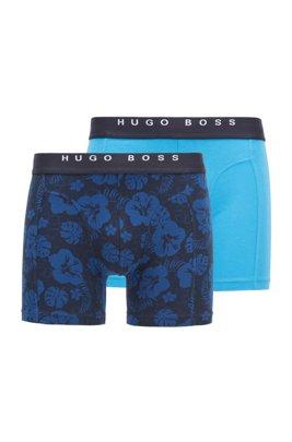 Lot de deux boxers longs avec taille logo, bleu clair