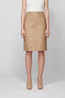 Leather pencil skirt with back slit, Beige