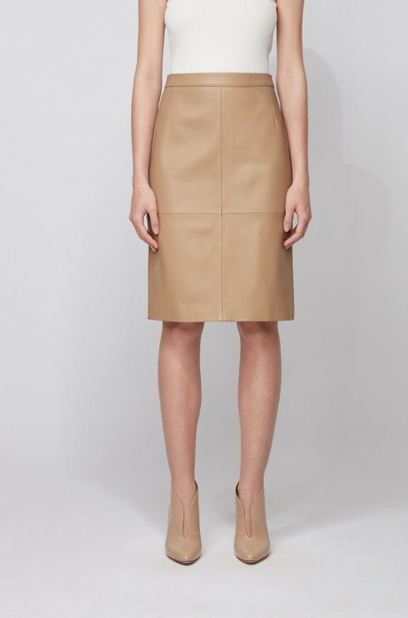 Leather pencil skirt with side slit, Beige