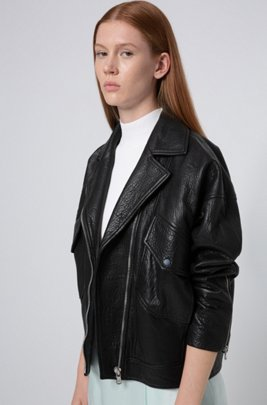 Relaxed-fit biker jacket in grained nappa leather, Black