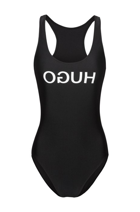 Racer-back swimsuit with reversed logo, Black
