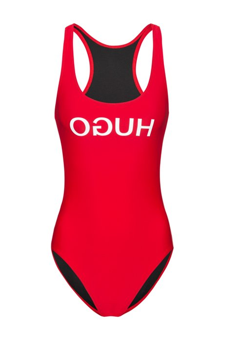 Racer-back swimsuit with reversed logo, Red