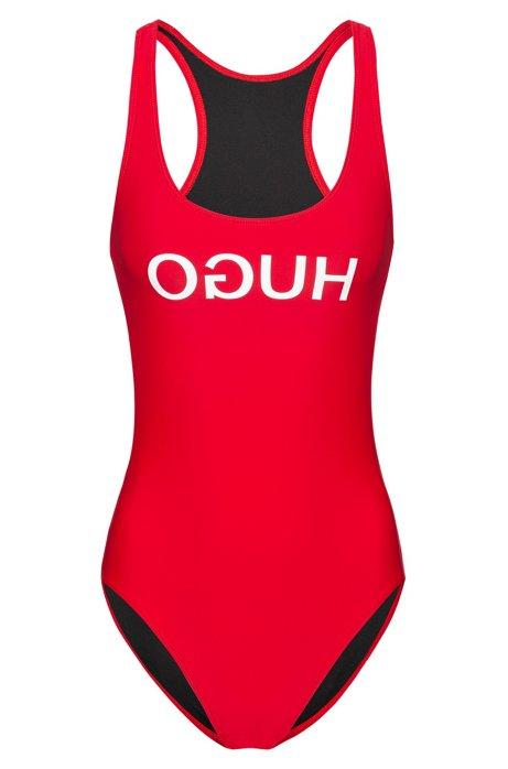 Maillot de bain à dos nageur avec logo inversé, Rouge