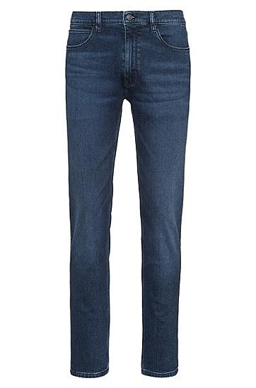 做旧效果弹性牛仔布淡蓝色紧身牛仔裤,  420_中蓝色