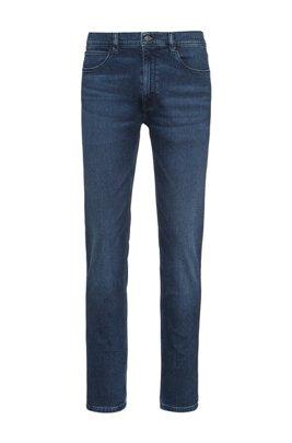 Jeans skinny fit in denim elasticizzato blu medio effetto usato, Blu
