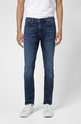 Mid-blue skinny-fit jeans in used-effect stretch denim, Blue