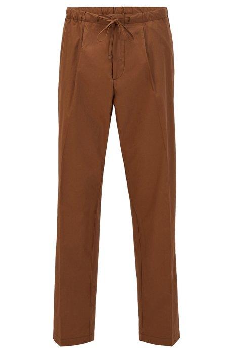 Relaxed-fit broek van katoenen popeline met tailleband met trekkoord, Donkerbruin