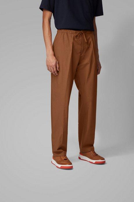 Pantaloni relaxed fit in popeline di cotone con coulisse in vita, Marrone scuro