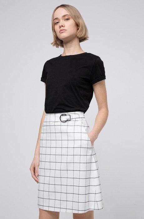 Jupe courte en tissu stretch à motif à carreaux intégral, Blanc
