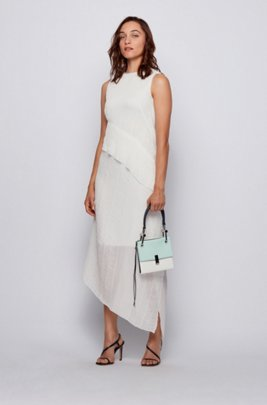Asymmetric maxi dress in crinkle crepe, White