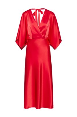 Lustrous V-neck dress with back-neck tie detail, Red