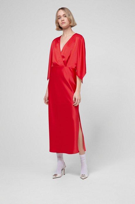 Schimmerndes Kleid mit V-Ausschnitt und Bindeband am Nacken, Rot