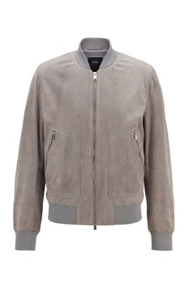 Bomber jacket in rich suede, Silver