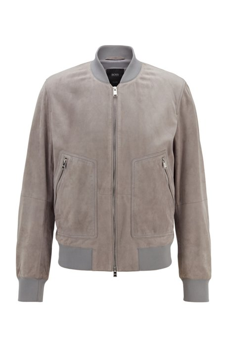 Bomber jacket in rich suede, Plata