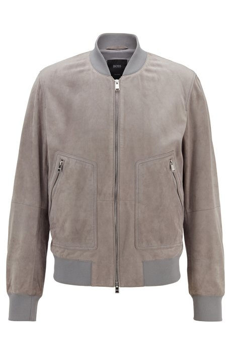Bomber jacket in rich suede, Silber