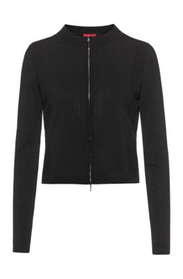 Zip-through jacket with knitted lace effects, Black