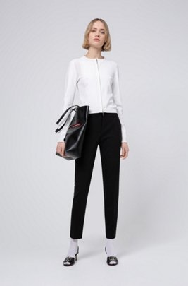 Zip-through jacket with knitted lace effects, White