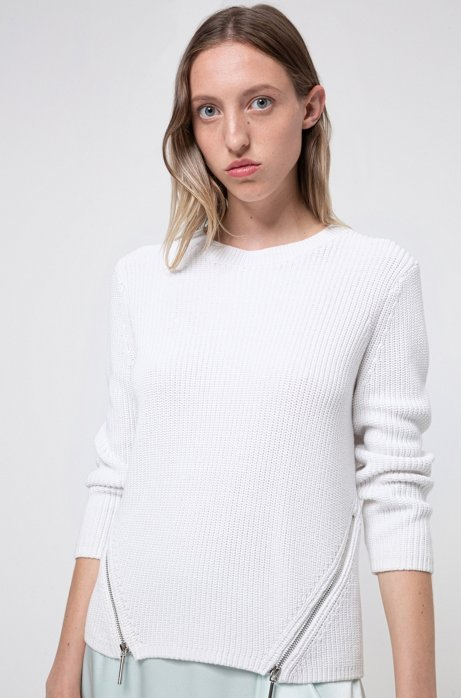Knitted-cotton sweater with angled front zips, White