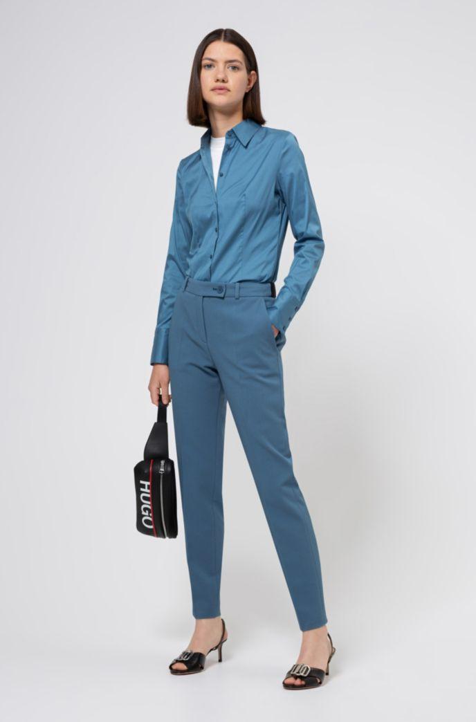 Jersey de manga corta slim fit con efecto de encaje de punto