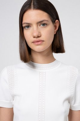 Slim-fit short-sleeved sweater with knitted lace effects, White