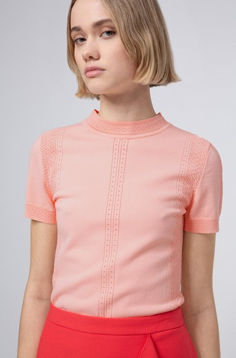 Slim-fit trui met korte mouwen en gebreide kanteffecten, lichtrood