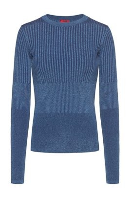 Knitted sweater with mixed structures, Dark Blue