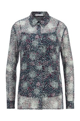 Printed silk blouse with crinkle texture, Patterned