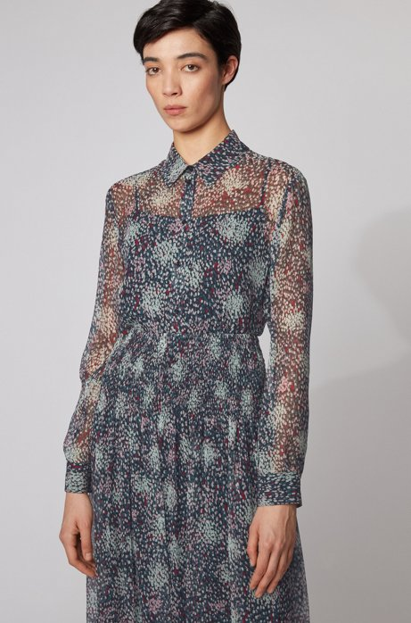 Bedruckte Bluse aus reiner Seide mit Knitterstruktur, Gemustert