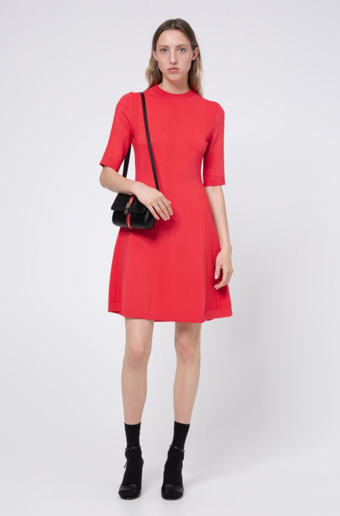 Knitted dress in stretch fabric with lace-effect details