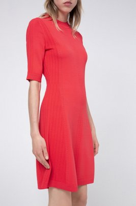 Knitted dress in stretch fabric with lace-effect details, Red