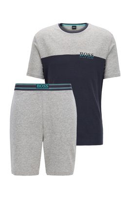 Colour-block pyjama set in lyocell-blend jersey, Light Grey
