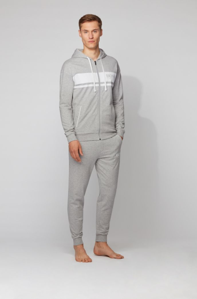 Hooded loungewear jacket in French terry with contrast stripes