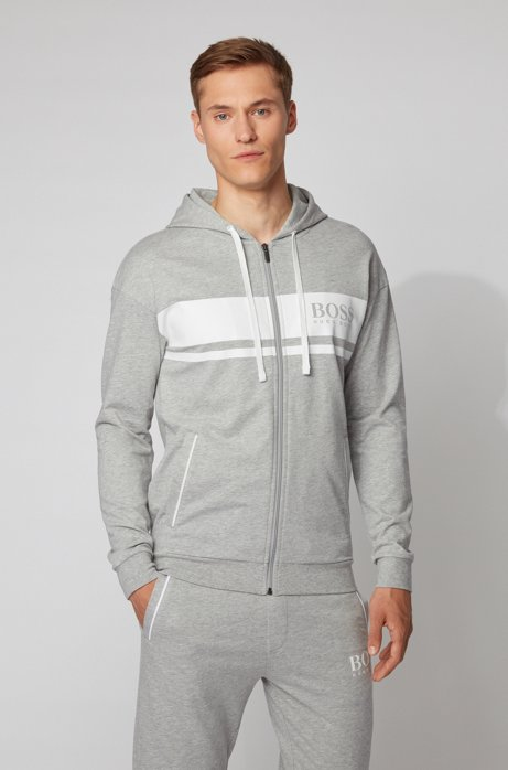 Hooded loungewear jacket in French terry with contrast stripes, Light Grey