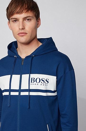法国毛圈布撞色条纹连帽家居夹克,  426_中蓝色