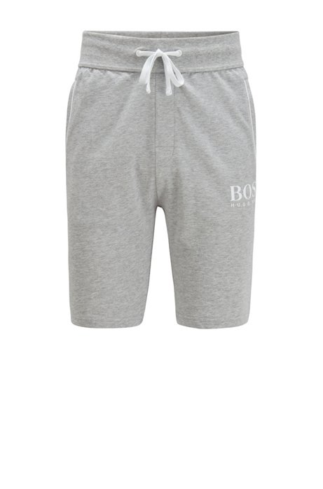 Logo loungewear shorts in French terry with coordinating piping, Light Grey
