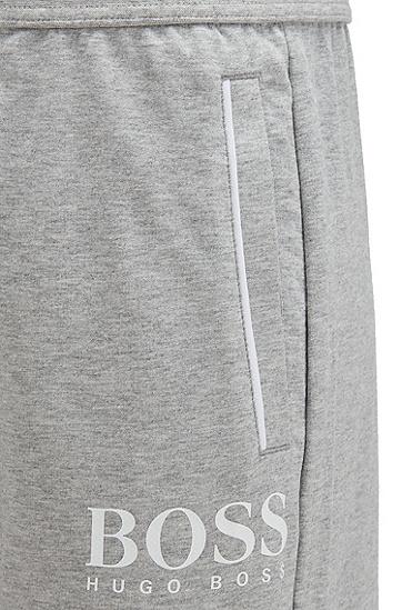 法国毛圈布相称滚边徽标家居短裤,  054_浅灰色