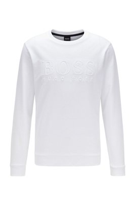 Loungewear sweatshirt in French terry cotton with chest logo, White