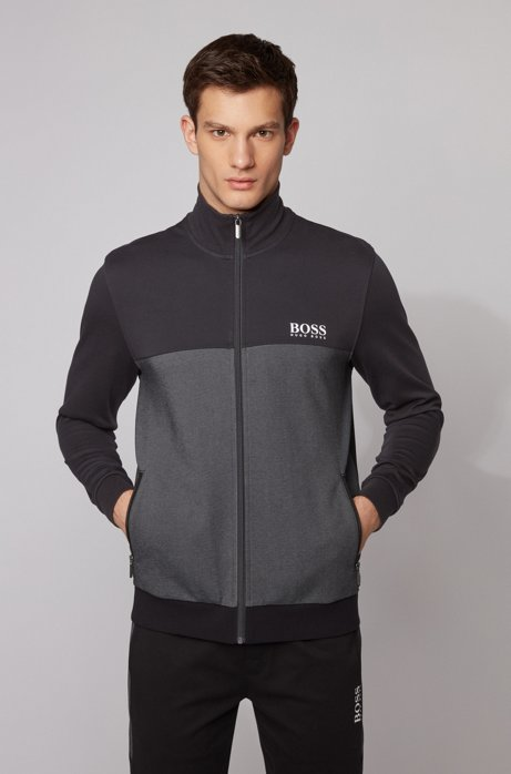 Colour-block loungewear jacket with contrast logo, Black