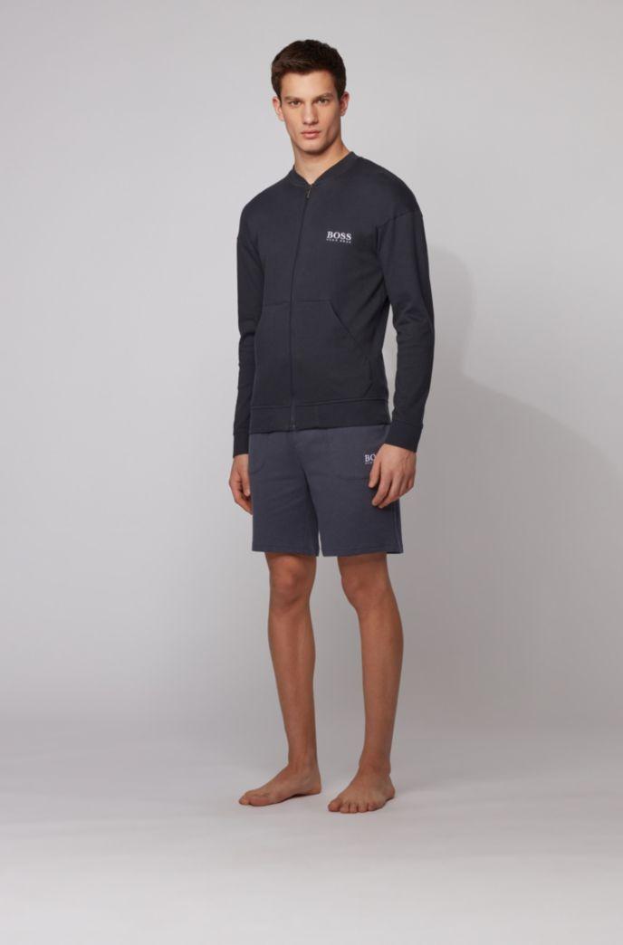 Bermuda per l'abbigliamento da casa con logo ricamato in cotone jacquard a coste