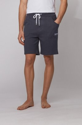 Logo-embroidered loungewear shorts in ribbed cotton jacquard, Light Blue