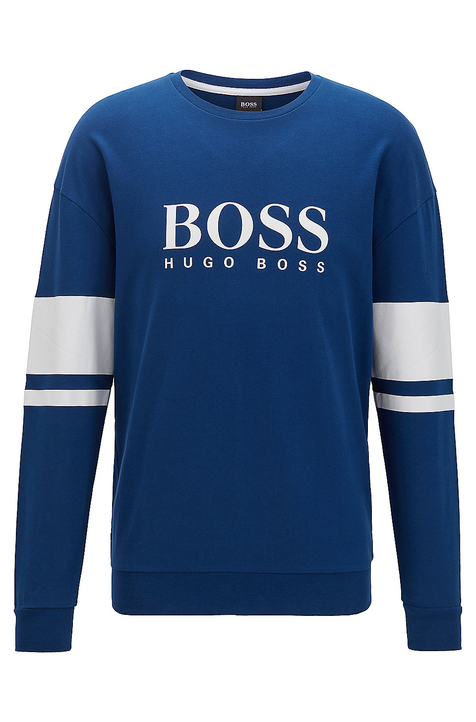 BOSS Mens Authentic Sweatshirt Logo Loungewear Sweatshirt in French Terry with Contrast Stripes