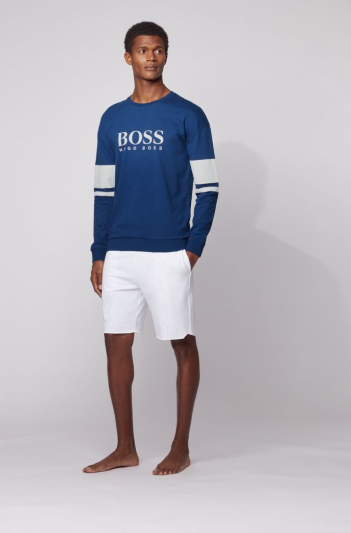 Logo loungewear sweatshirt in French terry with contrast stripes