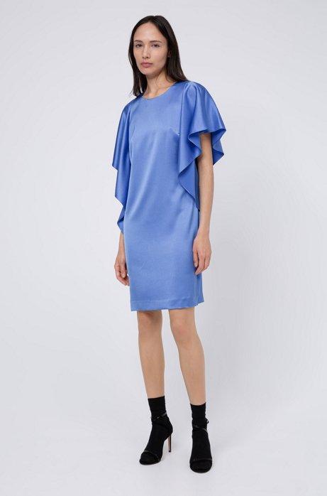 Kleid aus gehämmertem Krepp mit Volants und verdecktem Reißverschluss, Blau