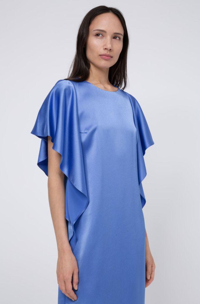 Kleid aus gehämmertem Krepp mit Volants und verdecktem Reißverschluss
