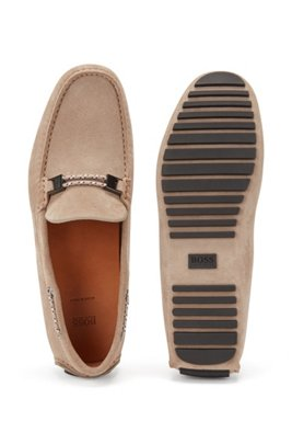 Driver moccasins in suede with cord details, Beige
