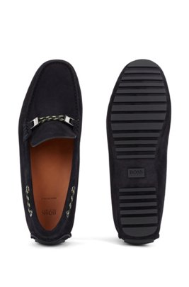 Driver moccasins in suede with cord details, Dark Blue