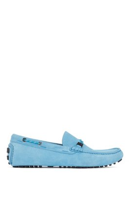 Driver moccasins in suede with cord details, Light Blue
