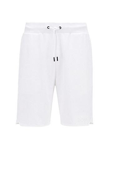 运动风底边法国棉质毛圈布家居短裤,  100_白色