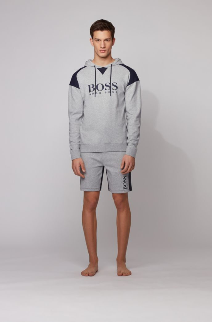 Hooded loungewear sweatshirt in cotton with contrast inserts